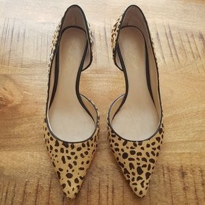 Marc Fisher Leopard Cow Hair D'Orsay Pumps